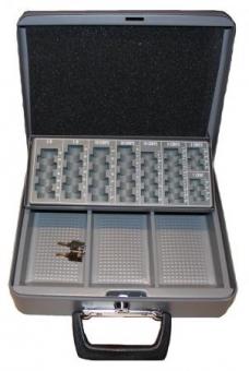 Geldkassette Moneta (95x300x240mm) Scheinfach und Hartgeldeinsatz, grau