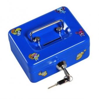 Geldkassette Kinderkassette Penny mit Motiven (60x125x95mm) blau , Preis inkl. Fracht