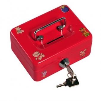 Geldkassette Kinderkassette Penny mit Motiven (60x125x95mm) rot