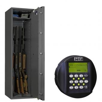 Waffenschrank EN 1143-1 Klasse 1 mit biometrischem Fingerprint Schloss 5 Waffenhalter