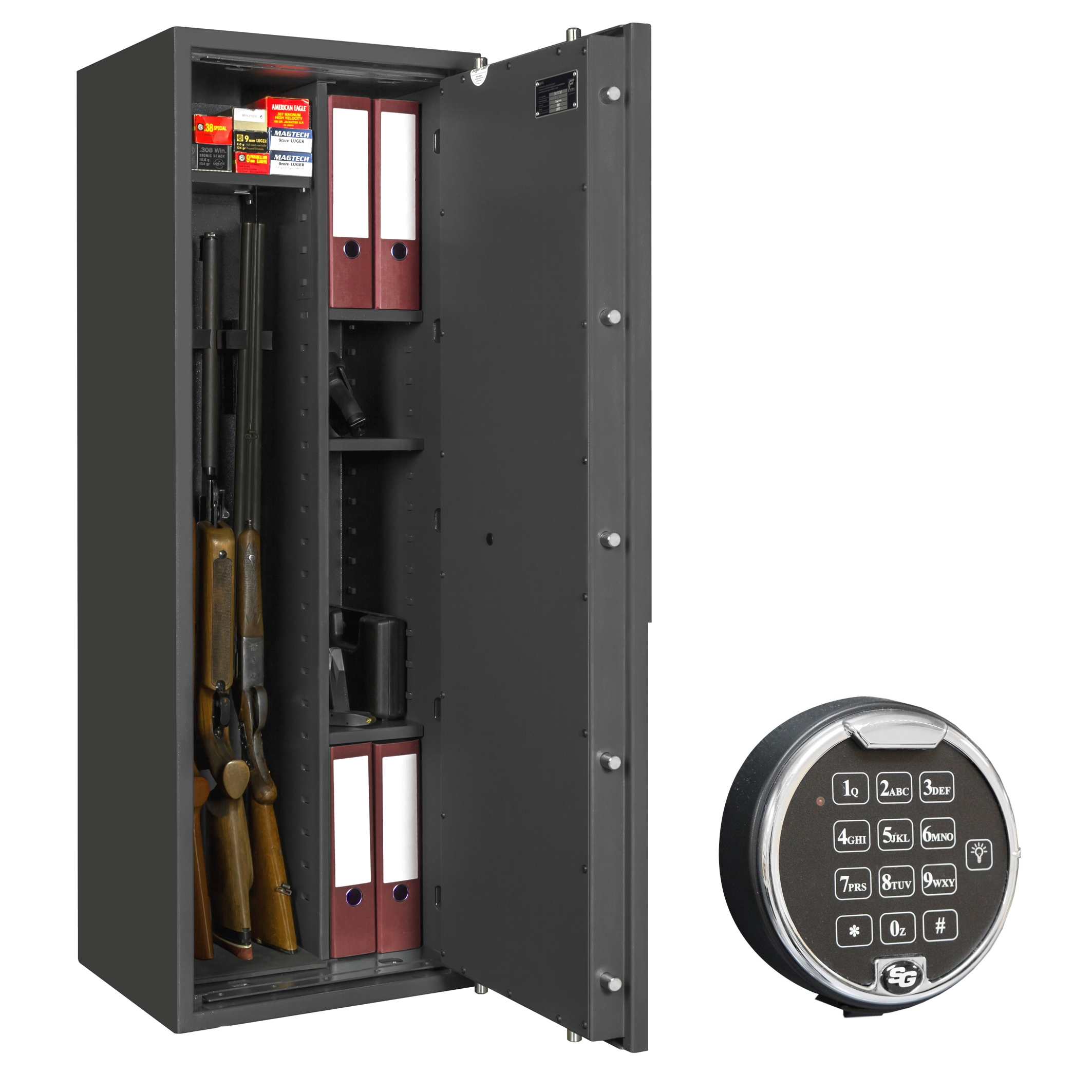 waffenschrank gun safe 1 1 4c elo 1400x500x420mm klasse 1 4 waffenhalter regalteil. Black Bedroom Furniture Sets. Home Design Ideas